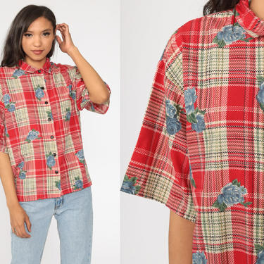 Plaid Floral Blouse 90s Button Up Shirt Red Short Sleeve Top Grunge Boho 1990s Vintage Checkered Shirt Bohemian Medium by ShopExile