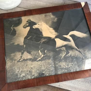 Wood Framed Horse Picture Print, Equestrian Rustic Cabin Cottage Farmhouse Decor by JansVintageStuff