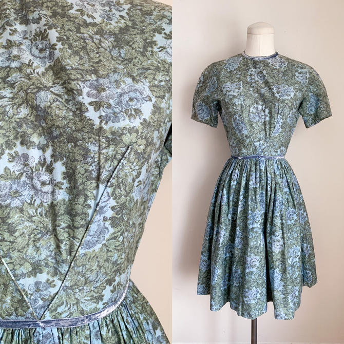 Vintage 1950s Moss Green & Blue Floral Cotton Dress / XS by MsTips