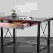 Live-edge Black Walnut or Ash Desk - Steel X-legs by TimberForgeWoodworks