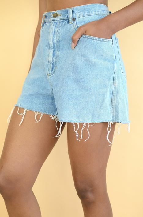 Vintage Denim High Rise Cut Off Shorts by MAWSUPPLY