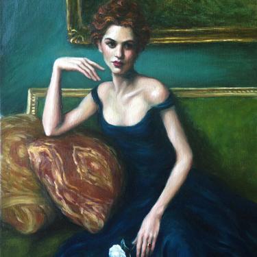 Female Figurative, Large Art Print from Original Oil Painting by Pat Kelley. Portrait of Woman in Blue Dress, Fashion Art, Giclée, 16x12 by PatKelleyStudio
