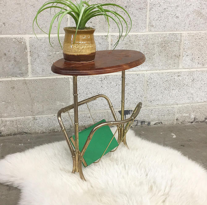 Vintage Side Table Retro 1990s Magazine and Book Rack + Gold Metal Bamboo Frame + Oval Wood Top + End Table + Home Decor + Storage by RetrospectVintage215