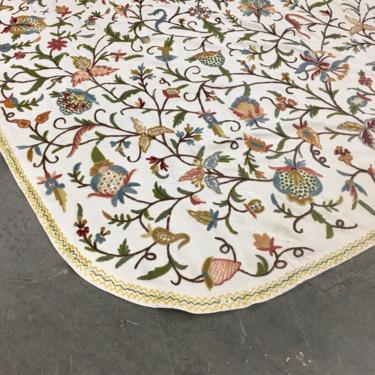 Vintage Bedspread Retro 1970s King Size + 108x 87 + Embroidered + Crewel + Floral Print + Tapestry + Bohemian Style + Bedding + Home Decor by RetrospectVintage215