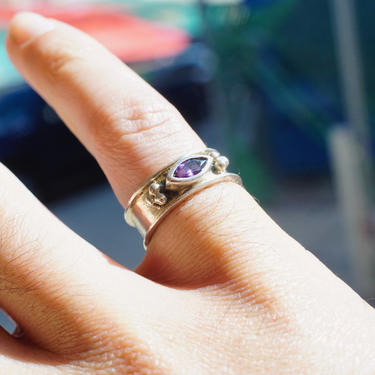 Vintage Sterling Silver Amethyst Ring, Minimalist Silver Band With Small Purple Stone, Marquise Cut Gemstone, 925 Jewelry, Size 7 1/2 US by shopGoodsVintage