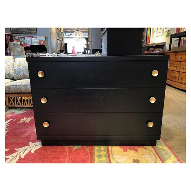 """Black painted low Art Deco style chest/dresser with gold knobs. 45"""" w x 20"""" d x 33"""" h"""