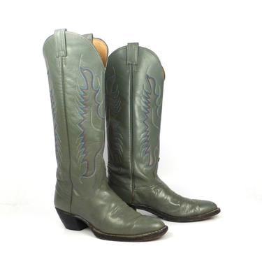 Nocona Cowboy Boots Vintage 1980s Gray Tall Men's size 5 1/2 B by purevintageclothing
