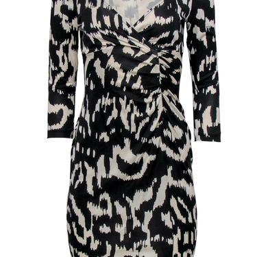 Diane von Furstenberg - Black & White Abstract Print Silk Sheath Dress Sz 6
