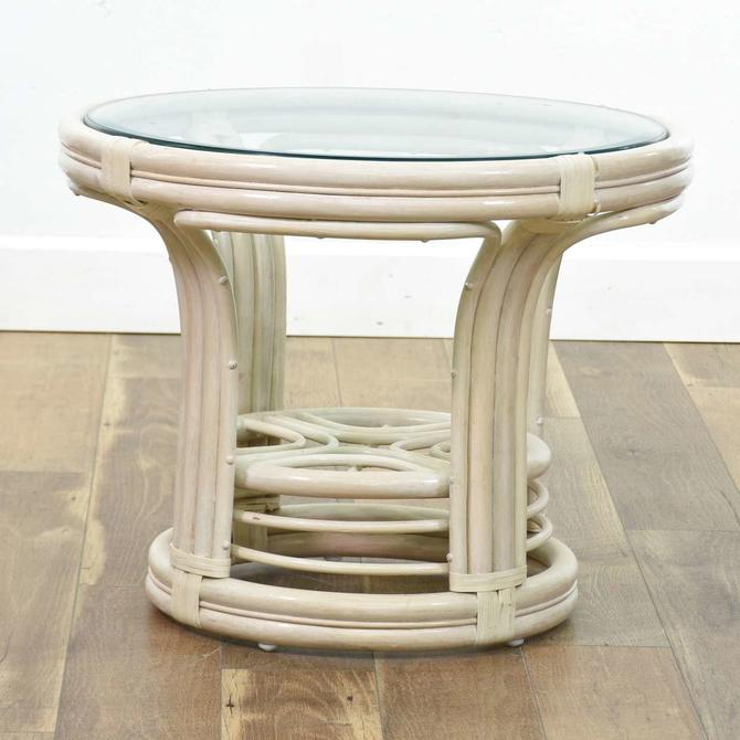 Coastal Bentwood & Rattan End Table W Glass Top