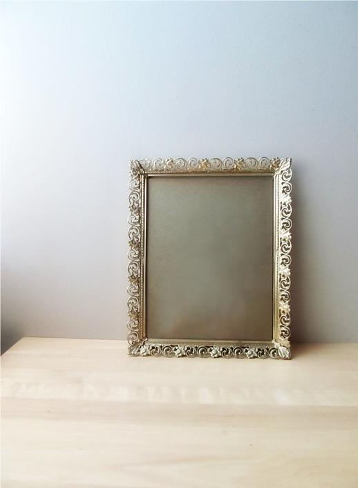 ornate golden brass picture frame 11 x 14 - wedding decor white washed pierced metal by ionesAttic