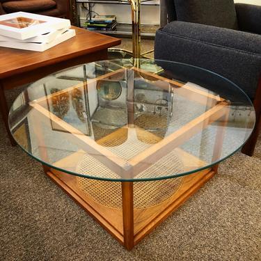Walnut + Cane + Glass Coffee Table