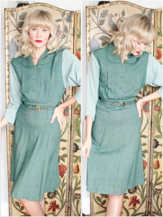 1940s Dress // Lynn Lester Two Tone Green Dress // vintage 40s dress by dethrosevintage