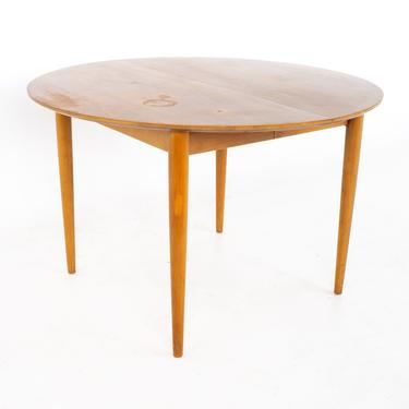 Morganton Mid Century Round Oval Expanding Walnut Dining Table with 3 Leaves - mcm by ModernHill