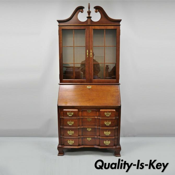 Remarkable Vintage Cherry Chippendale Block Slant Front Secretary Desk Home Interior And Landscaping Mentranervesignezvosmurscom