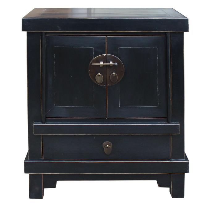 Oriental Black Lacquer Bold Look End Table Nightstand cs4991S