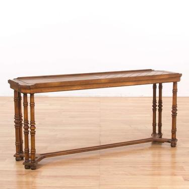 Trestle Base Sofa Console Table W/ Gallery