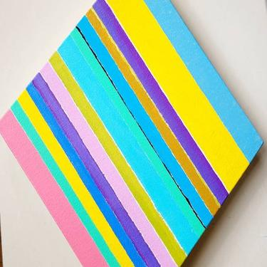 Diamond shaped Hard Edge Colorful Op-Art Abstract Geometric  painting on Canvas Mcm style art by LazyDogAntiqueStore