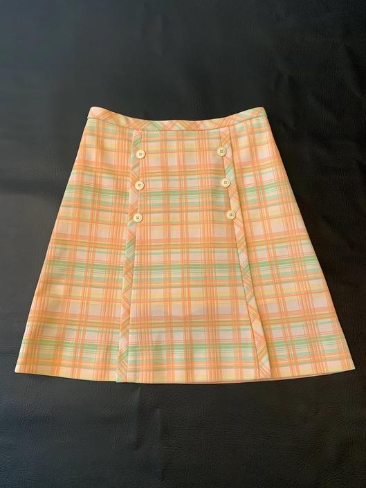 Peachy Green Plaid 70's Skirt w/ Hidden Shorts