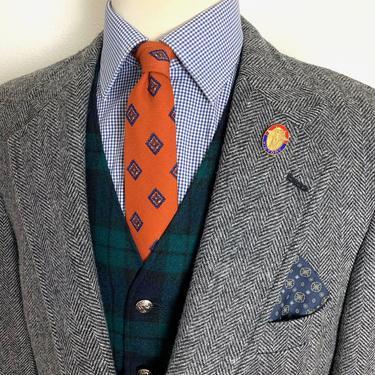 Vintage LANDS' END 100% Wool TWEED Blazer ~ 44 Long ~ Herringbone jacket / sport coat ~ Preppy / Ivy League / Trad ~ by SparrowsAndWolves