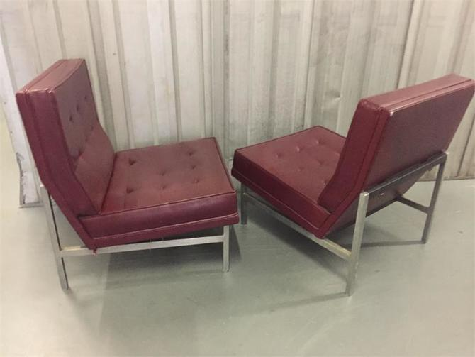 Pair Vintage Florence Knoll Parallel Bar Steel Base Slipper Lounge Chairs