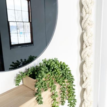 "Extra Long Fiber Art ""Scala"" (WITH WOODEN KNOB) Macrame Wall Hanging, Fiberart Knot, Fringe Scandi Style, Bohemian Accent, Macrame Rope Art by shopcandiceluter"
