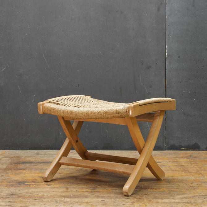 Hans Wegner Danish style Folding Rope Rush Stool Yugoslav Made 1960s Mid-Century Modern by BrainWashington