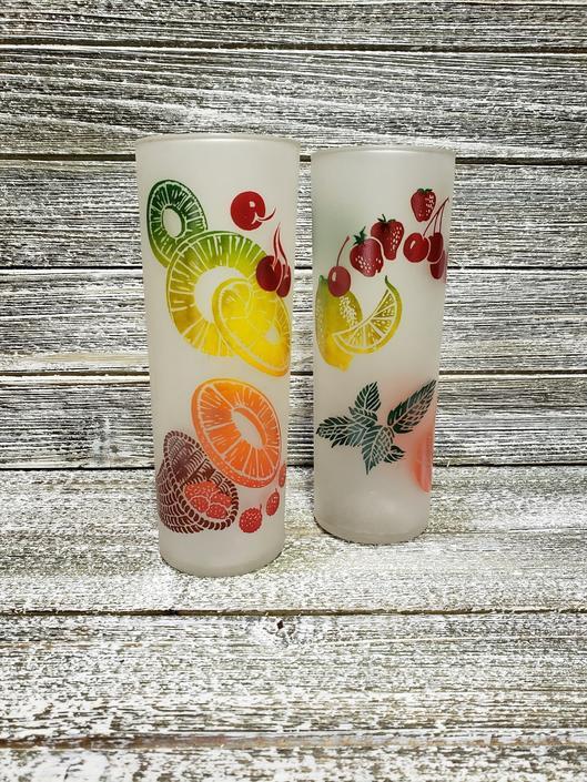 Vintage Frosted Fruit Glasses, Federal HighBall Glasses, Tom Collins Ice Tea Glass, Cherries Oranges Lemons Limes Glasses, Vintage Barware by AGoGoVintage