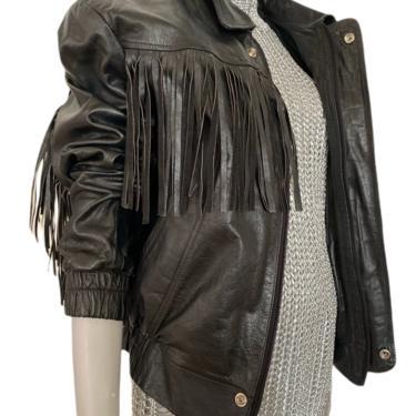 Vintage fringe jacket, leather fringe coat, 90s moto jacket, motorcycle jacket, leather coat, women's leather coat, men's leather coat, s. m by RETROSPECTNYC