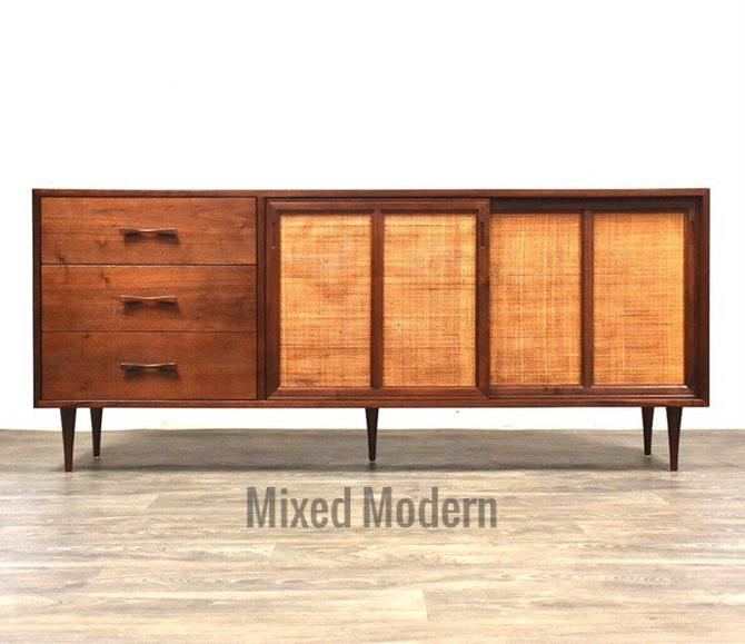 Walnut & Cane TV Console Credenza by mixedmodern1