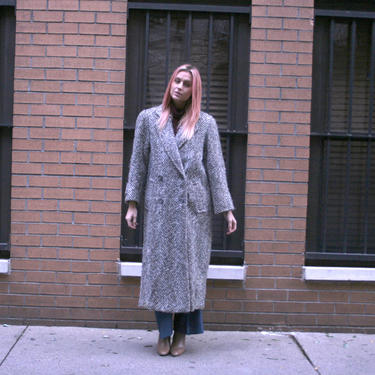 Bill Blass 80's Grey Trench Coat | Women's Full Length Wool Trench | Size L-XL | Grey & Tan | by HamletsVintage