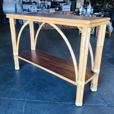 """Restored Rattan """"Double Arch"""" Sofa or Console Table with Two Tier Mahogany Tops by HarveysonBeverly"""