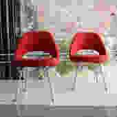 Pair of Eero Saarinen Executive chairs in Red Knoll Fabric
