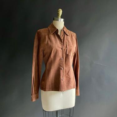 Vintage Brown Suede Button Down Blouse Shirt, Size 4 Ann Taylor by Northforkvintageshop