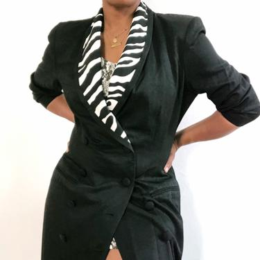 Vintage 1980s 1990s Zebra Trim Blazer Dress Double Breasted Graphic Animal Print Duster Tuxedo Fitted Wrap Jacket M Medium by KeepersVintage