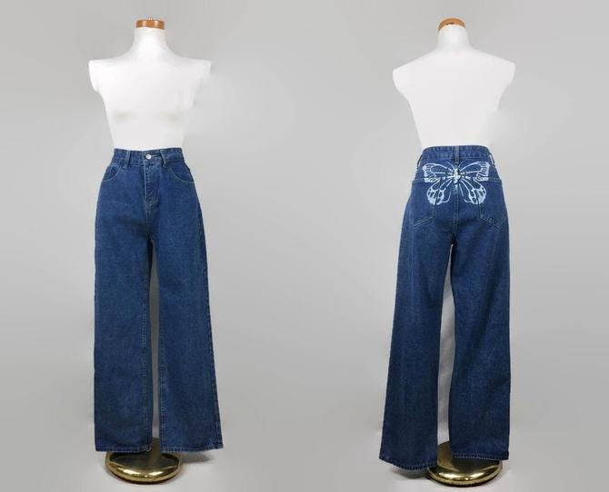 """VINTAGE 90s - Y2K High Waisted Straight Leg Jeans With Butterfly Accent 