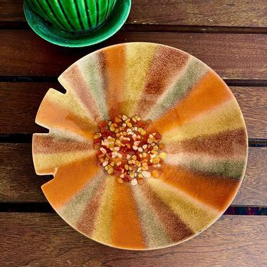 Vintage Enamel Glass on Copper, Orange Sunburst Stripe Ashtray, Jewelry Low Bowl, Key Holder - Halloween Fall Autumn, Mid Century Modern by VenerablePastiche
