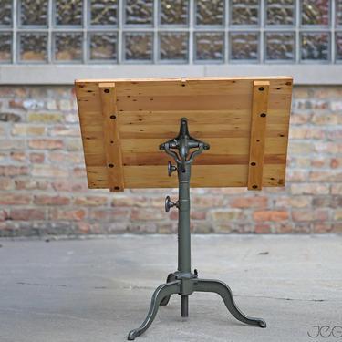 "all-original restored vintage ""Multum"" drafting table by Dietzgen, cast iron tripod base, vintage antique desk, architect table by jeglova"