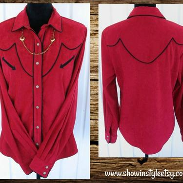RoughRider Vintage Retro Western Women's Cowgirl Shirt, Rodeo Blouse, True Red with Black Piping, Tag Size Medium (see meas. photo) by ShowinStyle