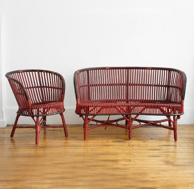 vintage rattan couch and chair, vintage porch furniture, rattan furniture, mcm rattan furniture, wicker furniture, porch furniture, rattan by pulpholyoke