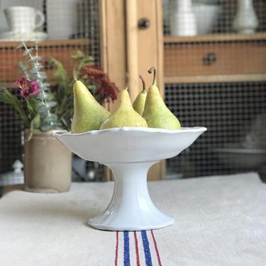 Beautiful pure white vintage Dutch ironstone fruit bowl ( compotier ) by Grainsacfrenchvintag