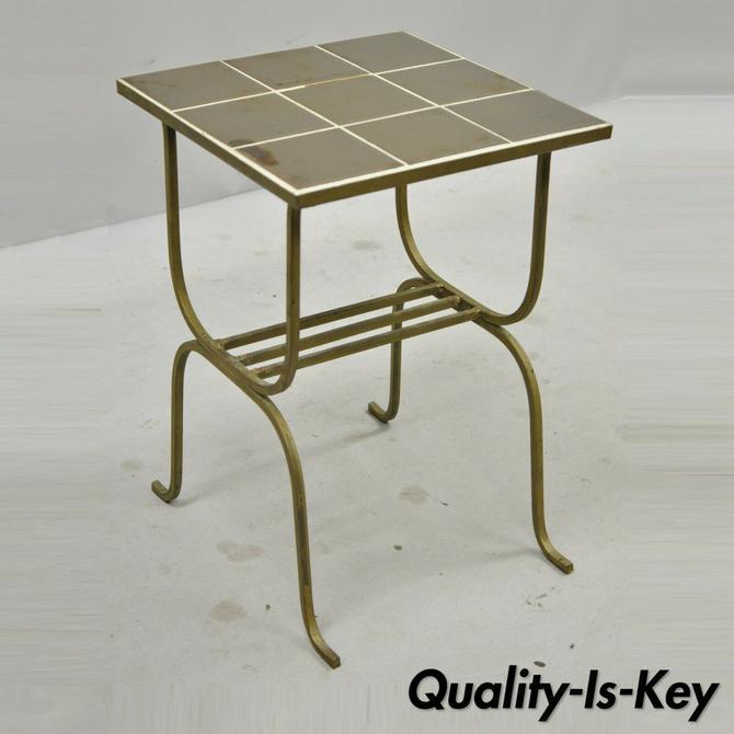 Antique Art Nouveau Gold Ceramic Tile Top Wrought Iron Accent Side Table