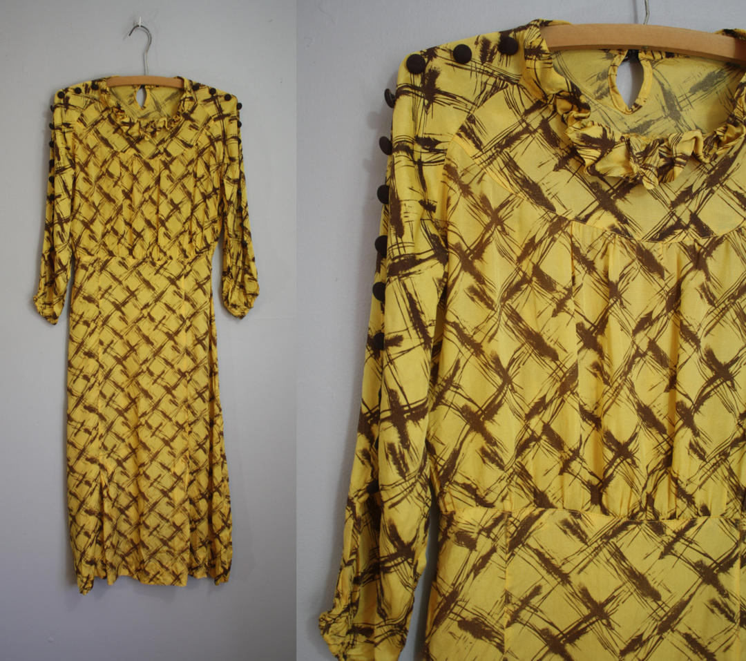 1930 S Dress Mustard Silk Print With Buttons Xs By