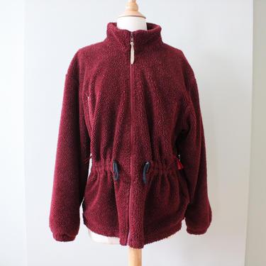Vintage 80s 90s Woolrich Burgundy Fleece Zip Up Lightweight Jacket Women's Size S M by NeonSkyVintageMN