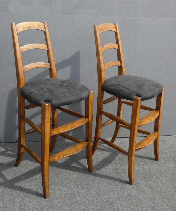Pair Vintage French Country Black BAR STOOLS by Minton Spidell by VintageLAfurniture
