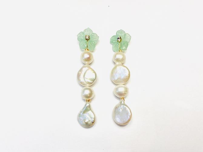 The Pink Reef rainbow gem pearls in jade