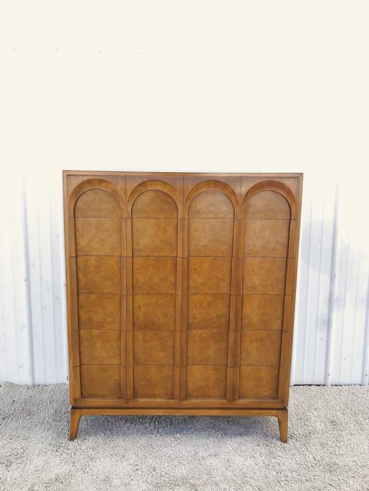 Mid Century Highboy Dresser with Burlwood