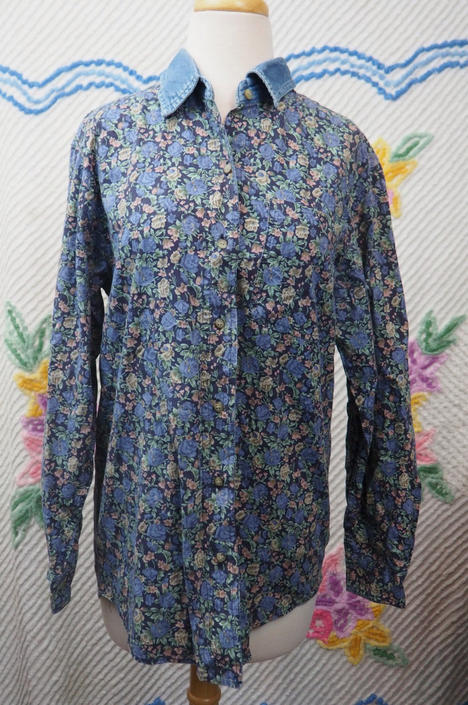 22dd9e30 Floral Button Down Shirt with Denim Collar/ Vintage 90s by ...