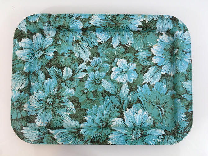 Vintage Metal Lap Tray Green Serving Retro Mid-Century Breakfast in Bed 1970s Floral TV Home Daisy Pattern Enamel Tin 70s Blue Folding Legs by CheckEngineVintage