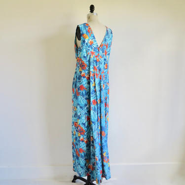 Vintage Hawaiian Print Long Maxi Dress with Train Aqua Blue Tropical Flowers Cotton Resort Luau Paradise Hawaii Made in Honolulu Large XL by seekcollect