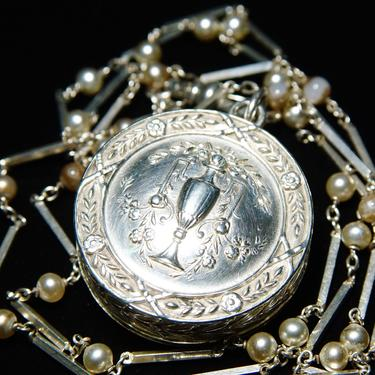 """Antique French Repousse Silver Snuff Box/Locket Pendant Necklace, Floral & Wreath Design, Pearl Station Watch Fob Chain W/ Dog Clip, 29"""" L by shopGoodsVintage"""